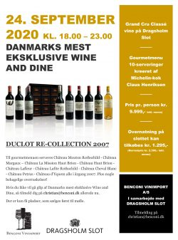 Duclot RE-Collection 2007 Wine and Dine på Dragsholm Slot d. 24 September 2020